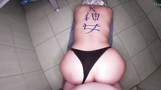 Mama with a large butt and in a strap gave a oral pleasure and gave her booty for anal sex to her stepson