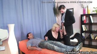 Massive breasts grandma swallows 2 ramrods at one time