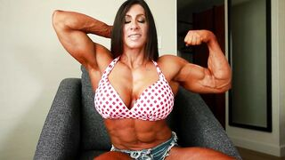 Angela Salvagno is a muscled woman who loves to do posing in front of the camera