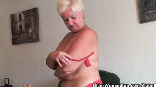 Overweight granny with saggy large titties and overweight booty masturbates