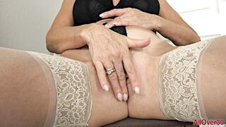 Curvaceous aged woman, Vanessa Videl disrobes down and widens up to play with her juicy twat