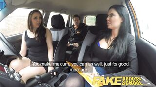 Fake Driving School three-some with spoilt teen in the mean orange machine
