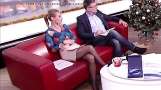 Lengthy legged tv host in ebony hose and heels 1