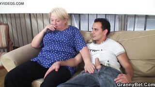 Breasty golden-haired granny pleases an youthful chap