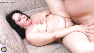 Mother with a chubby booty sucks and bangs large schlong