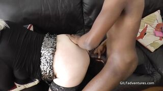 Older golden-haired woman has hired a impressive, ebony chap to bang her brains out, in her home