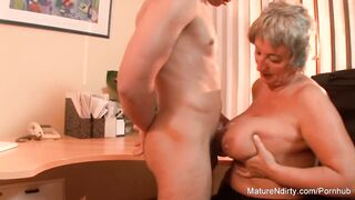 Aged big beautiful woman Takes a Load on her Giant Natural Melons