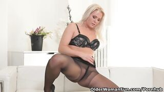 Golden-Haired mother I'd like to fuck Kathy Peels off her Ebony Stockings and Plays