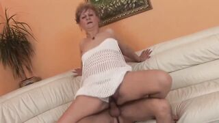 Concupiscent, Hungarian granny is sucking a younger dude's jock and waiting to get banged very hard