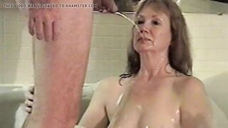 GRANDMA GETS THROAT FULL OF URINATE IN BATHROOM WITH THANKS
