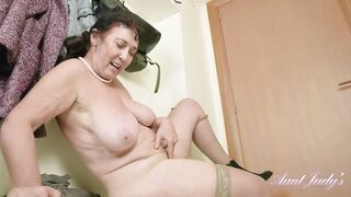Excited granny, Esmeralda can't await to get home and masturbate until this babe begins groaning from fun