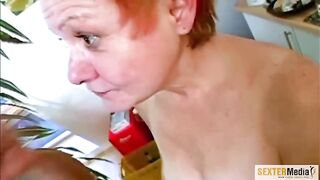 Petite titted granny with short, red hair is avid to ride wang until that babe cums