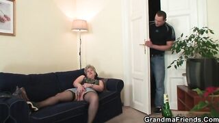 Golden-Haired granny who loves to suck rods is getting doublefucked during a casual male+male+female three-some
