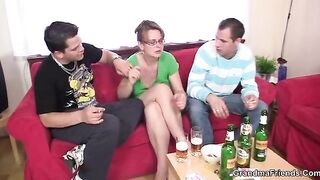 GRANDMA ALLIES - Older lady is lured into 3some