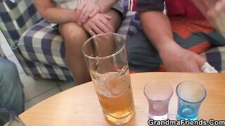 GRANDMA ALLIES - Drunk grandma sucks and rides 2 rods