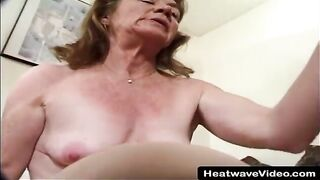 Horny granny with saggy boobs is about to have her 1st male+male+female three-some, until this babe cums