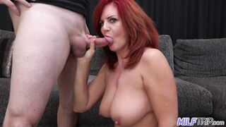 Aged redhead Andi James and her large bouncy boobs make me blow two loads