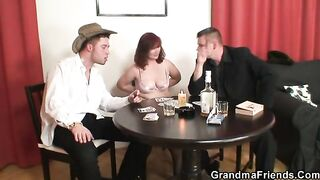 GRANDMA ALLIES - Three-Some sex with old woman after disrobe poker