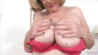 BREASTY BRITAIN - British Aged Camilla Plays With Massive Boobs And Moist Snatch