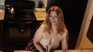 Mother I'd Like To Fuck Maid Does Dishes Topless - Lots of Indecent Talk and Boob Play - All Natural Breasts