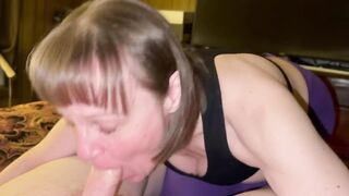 Granny Sucking the Life out of his Shlong and Oral Sex Creampie Cum Throat
