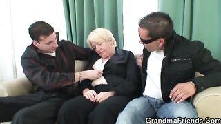 GRANDMA ALLIES - 2 men pick up and bang drunk grandma