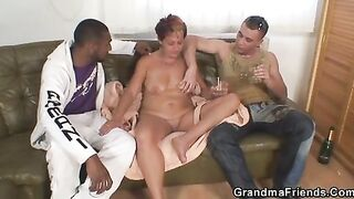 GRANDMA ALLIES - Lonely grandma gets pounded by 2 buddies