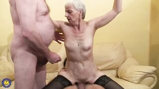 Hungry granny takes youthful and old rods